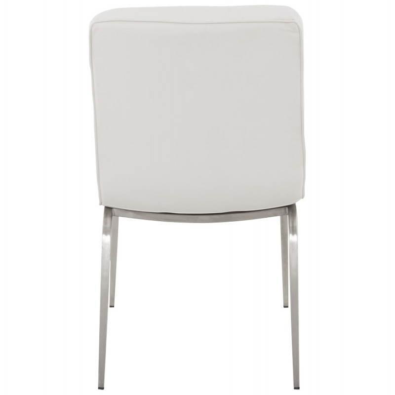 Chaise vintage capitonn e lingo en simili cuir blanc fran ais french - Chaise en cuir blanc ...