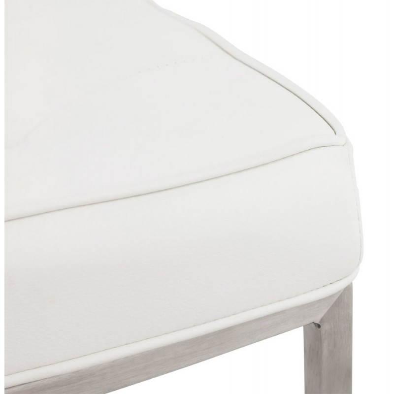 Chaise vintage capitonn e lingo en simili cuir blanc english english - Chaise cuir blanc conforama ...