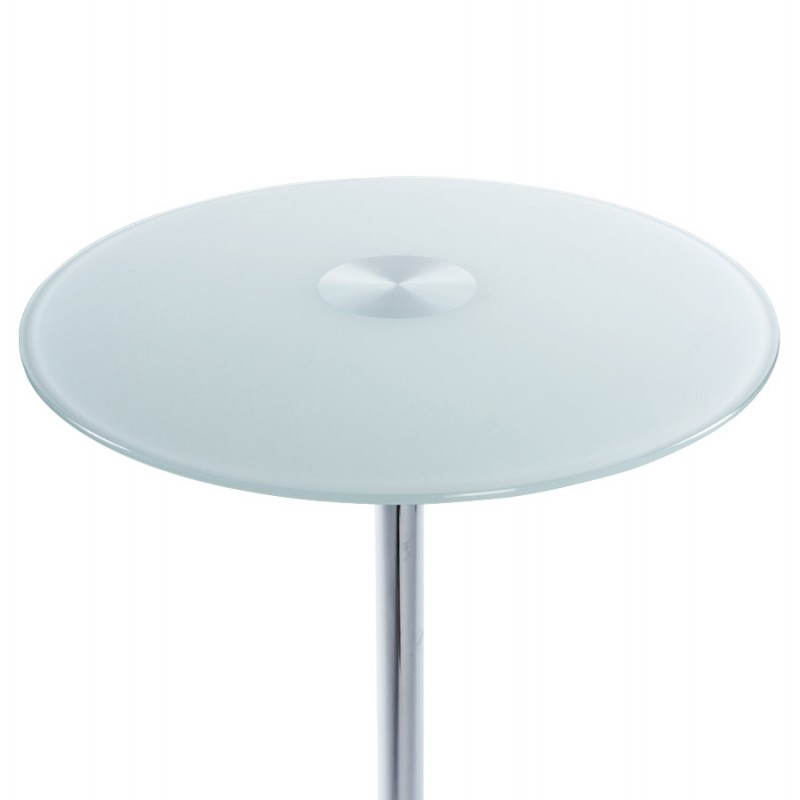 Table haute d 39 appoint bary en verre et m tal chrom blanc - Table haute d appoint ...