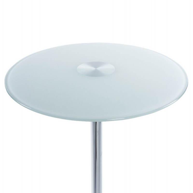 table haute d 39 appoint bary en verre et m tal chrom 65 cm blanc. Black Bedroom Furniture Sets. Home Design Ideas