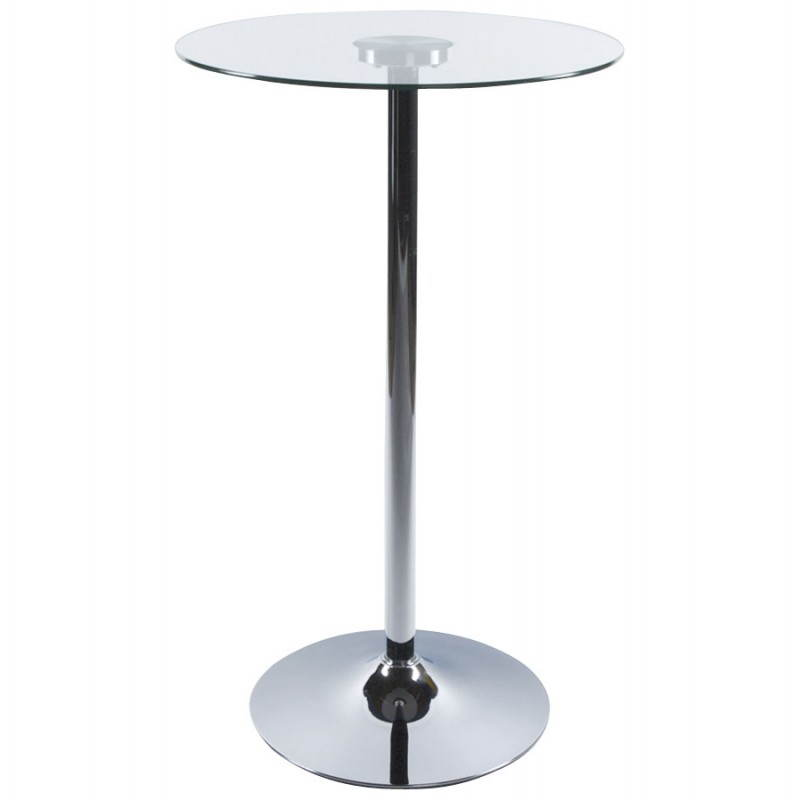 Table haute d 39 appoint bary en verre et m tal chrom 65 for Table haute en verre