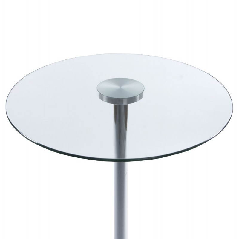 Table haute d 39 appoint bary en verre et m tal chrom 65 - Table haute d appoint ...