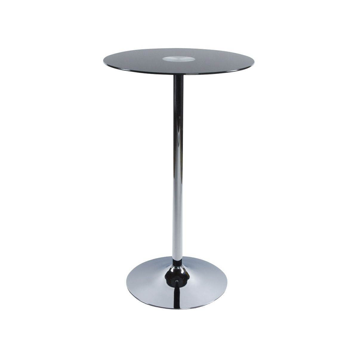 Table haute d 39 appoint bary en verre et m tal chrom noir for Table haute de salon
