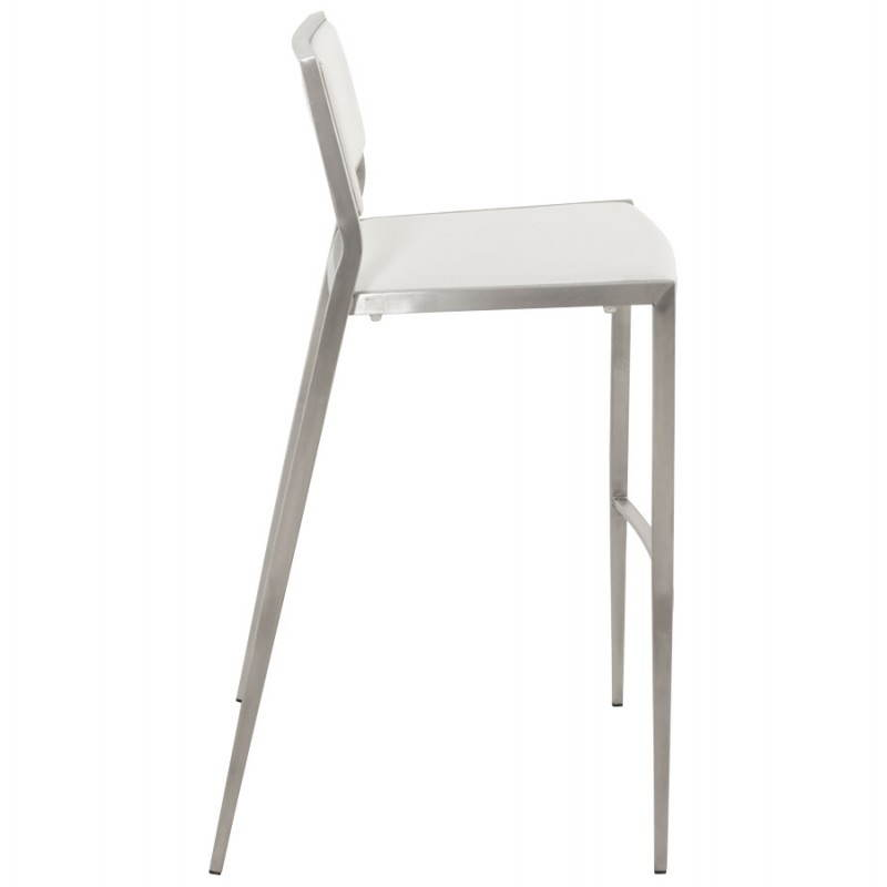 tabouret de bar design et empilable sabry ouien simili cuir et m tal chrom blanc. Black Bedroom Furniture Sets. Home Design Ideas