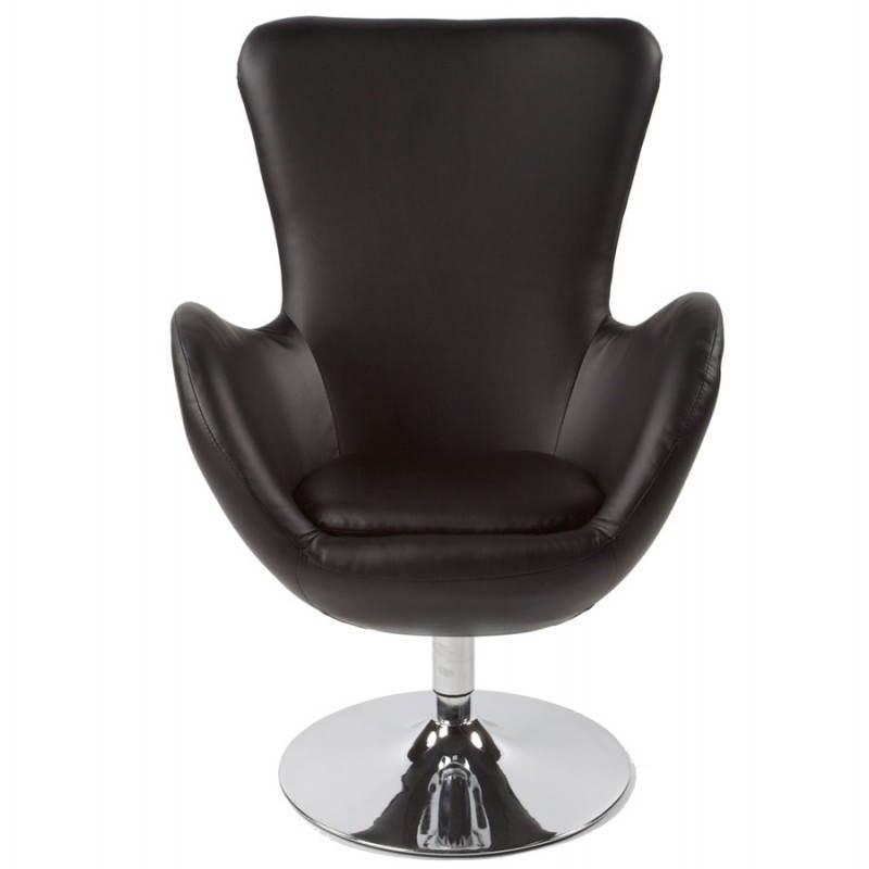 fauteuil design et contemporain james en simili cuir et m tal chrom noir. Black Bedroom Furniture Sets. Home Design Ideas