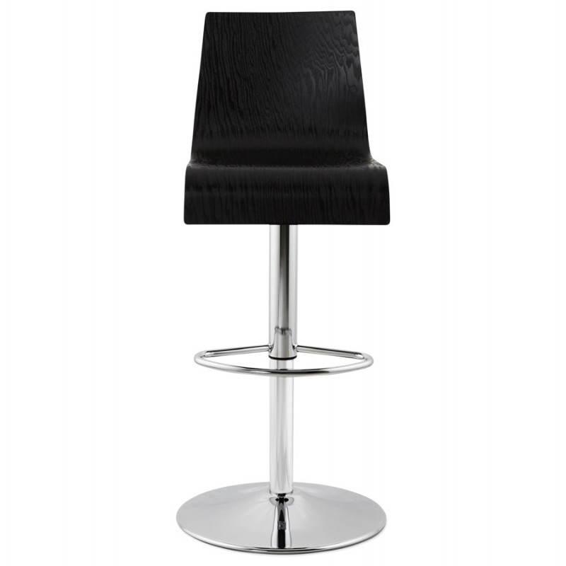 tabouret de bar design en bois et m tal chrom fours en bois noir. Black Bedroom Furniture Sets. Home Design Ideas