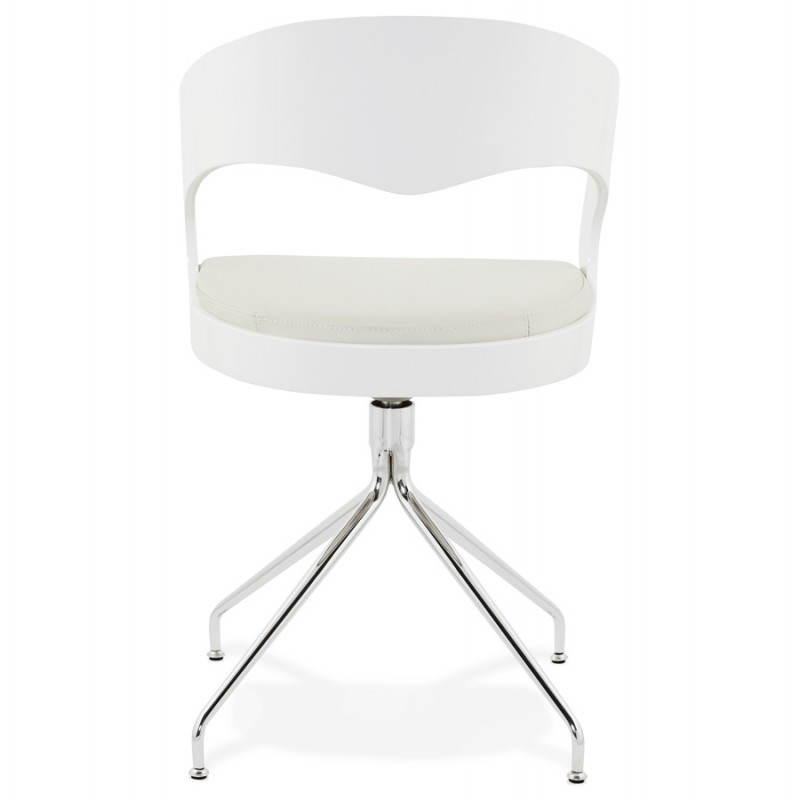 Chaise design et moderne verone en simili cuir blanc - Chaise en cuir blanc ...