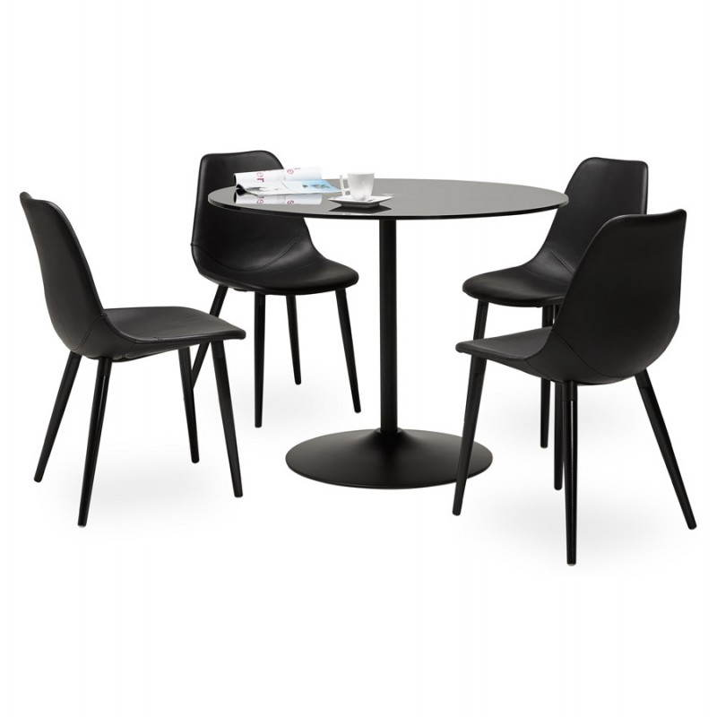 Design roundtable milan glass and metal 100 cm black - Table ronde aluminium ...