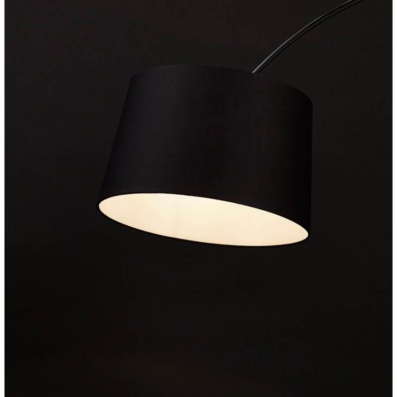 Lampe sur pied design aversa tissu noir for Lampe halogene sur pied design