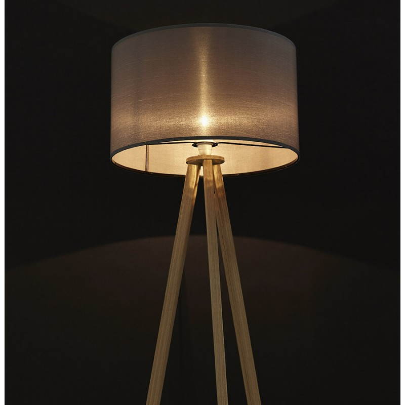 lampe sur pied de style scandinave trani en tissu gris naturel fran ais french. Black Bedroom Furniture Sets. Home Design Ideas
