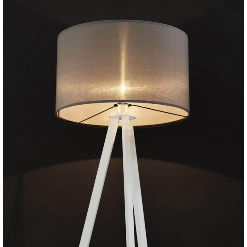 Lampe sur pied de style scandinave trani en tissu gris - Lampe sur pied style industriel ...