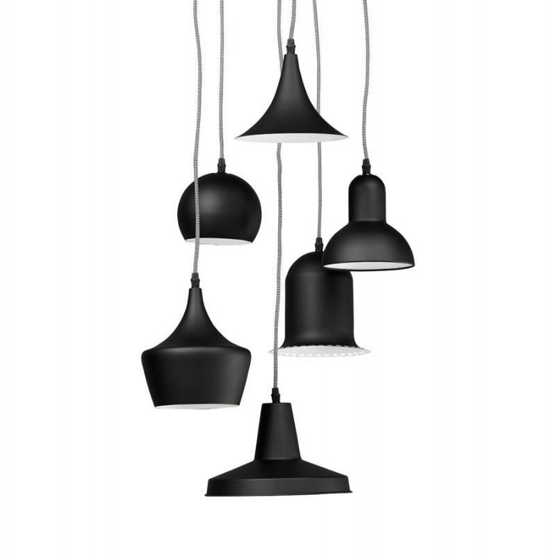 lampe suspendue industrielle 6 globes matera en m tal noir mat. Black Bedroom Furniture Sets. Home Design Ideas