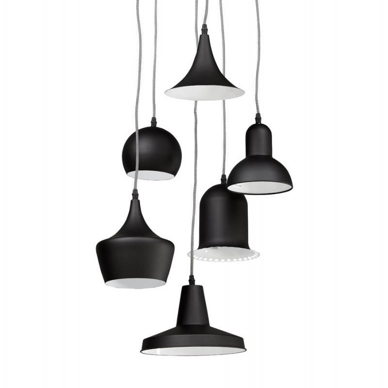 lampe suspendue industrielle 6 globes matera en m tal noir mat. Black Bedroom Furniture Sets. Home Design Ideas
