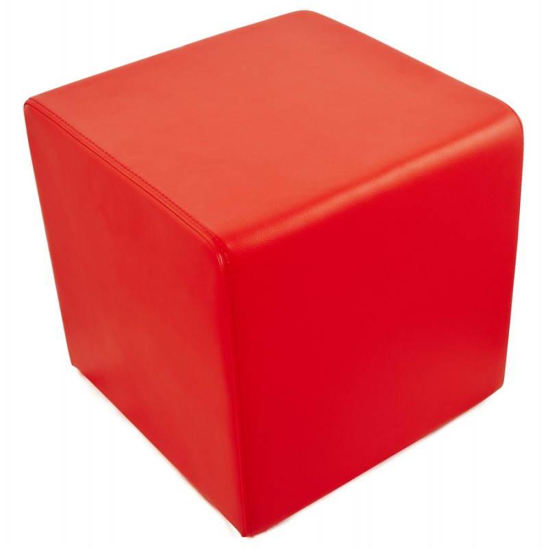 Pouf carr portici en simili cuir rouge - Pouf simili cuir blanc ...