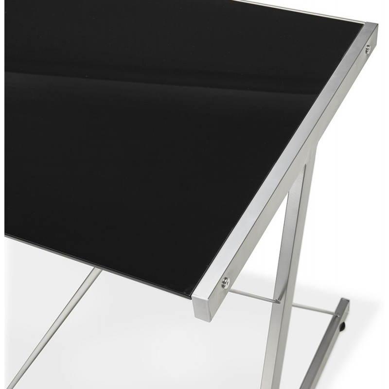 Bureau d 39 angle design rovigo en verre et m tal noir fran ais french - Bureau design verre metal ...
