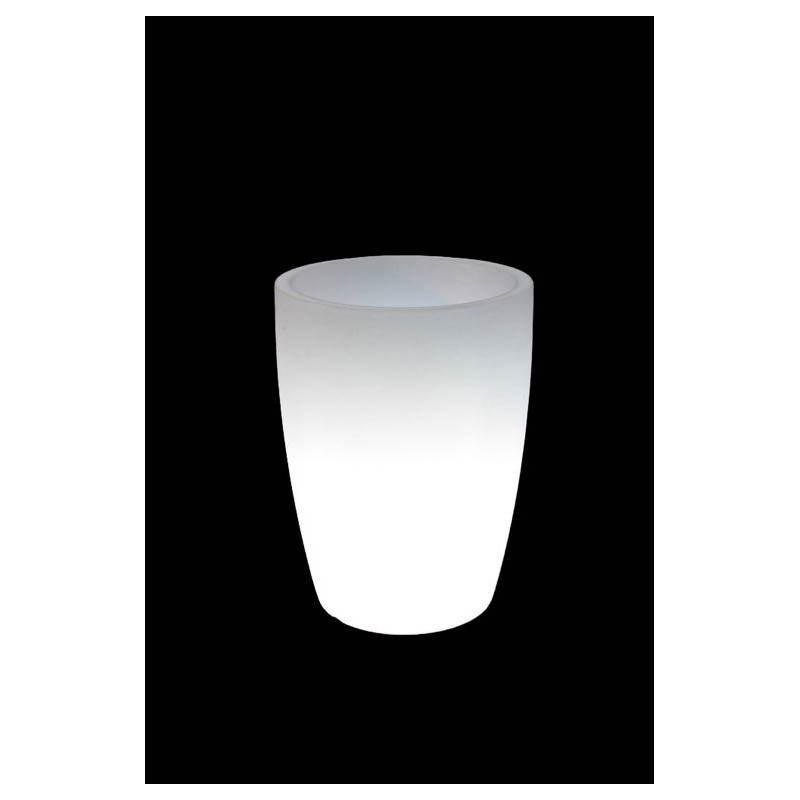 Pot ou vase lumineux cypres int rieur ext rieur blanc h - Interieur blanc et lumineux ...