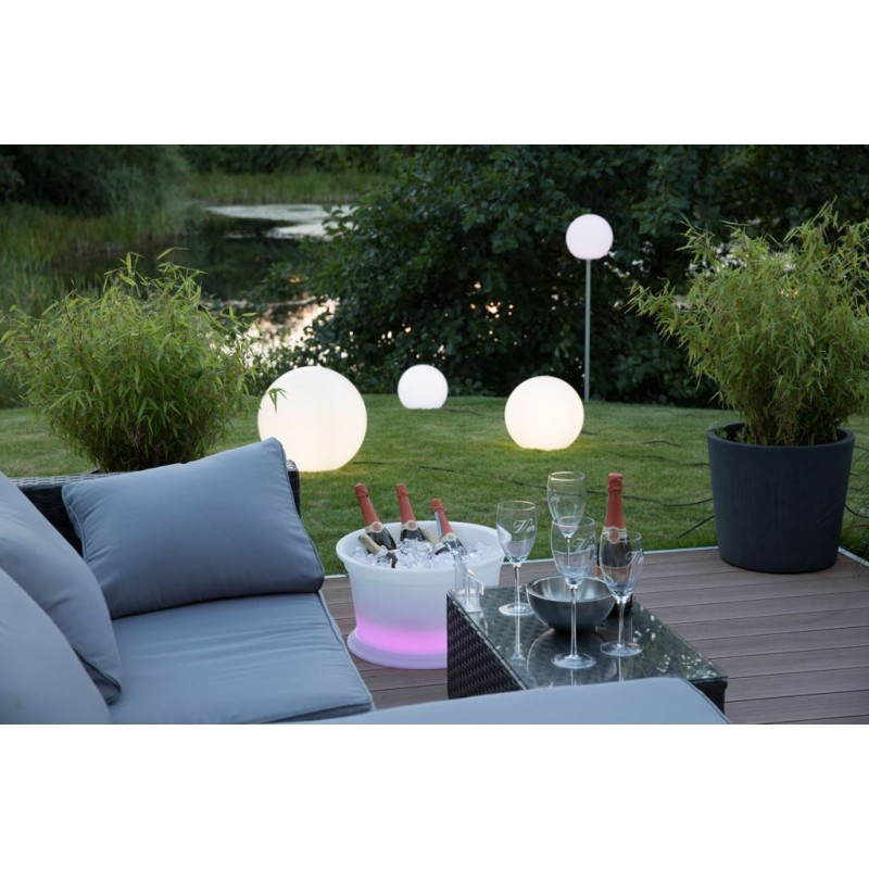 Lampe lumineuse globe int rieur ext rieur blanc led for Guirlande lumineuse multicolore exterieur