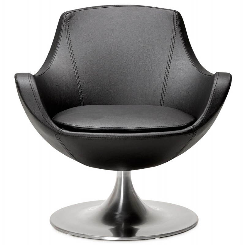 Fauteuil design rotatif 360 romane en simili cuir noir - Fauteuil design cuir noir ...