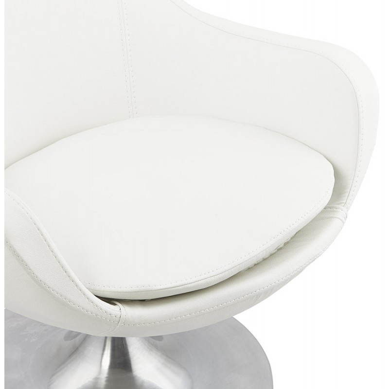 fauteuil design rotatif 360 romane en simili cuir blanc. Black Bedroom Furniture Sets. Home Design Ideas