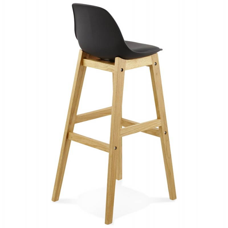 tabouret de bar design style scandinave florence en simili cuir noir. Black Bedroom Furniture Sets. Home Design Ideas
