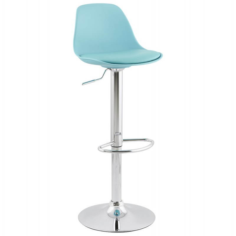 tabouret de bar design et compact robin en simili cuir et m tal chrom bleu mobilier design au. Black Bedroom Furniture Sets. Home Design Ideas