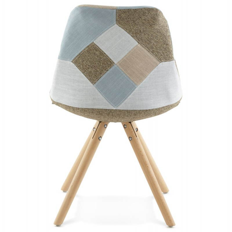 chair patchwork style scandinavian bohemian fabric blue