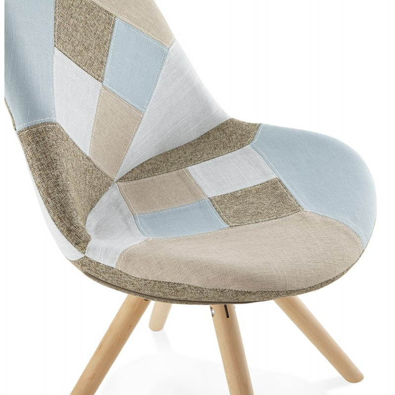 chaise patchwork style scandinave boheme en tissu bleu gris beige. Black Bedroom Furniture Sets. Home Design Ideas