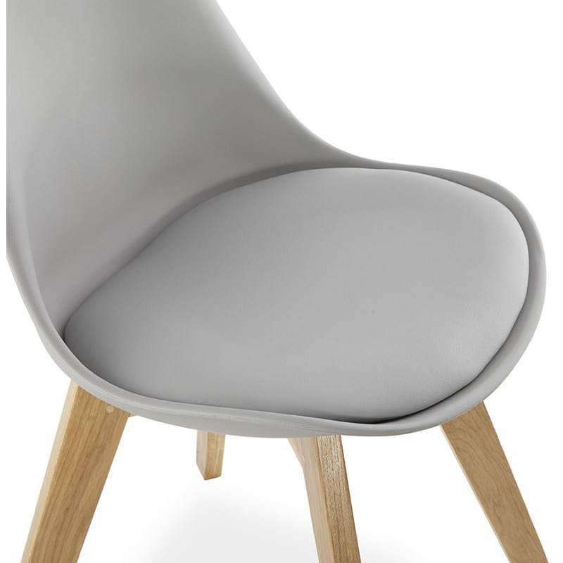 chaise moderne style scandinave sirene en simili cuir gris. Black Bedroom Furniture Sets. Home Design Ideas