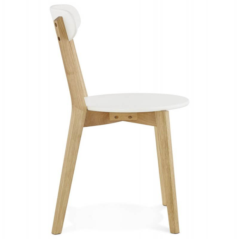Chaise design style scandinave scandi en bois blanc for Table scandinave blanc et bois