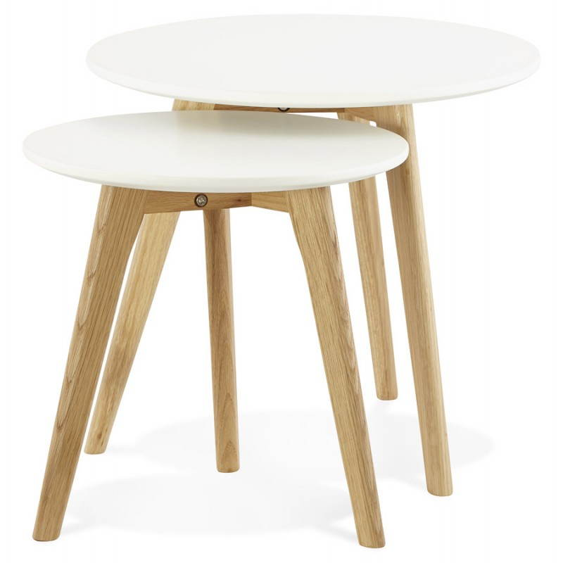tables basses design gigognes art en bois et ch ne massif blanc. Black Bedroom Furniture Sets. Home Design Ideas
