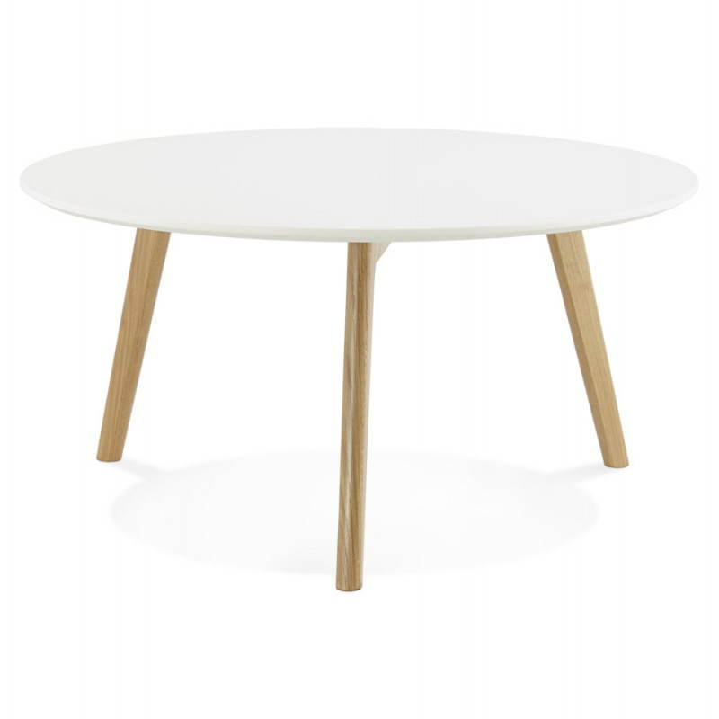 Tarot scandinavian coffee table in wood and oak white for Table basse blanc bois