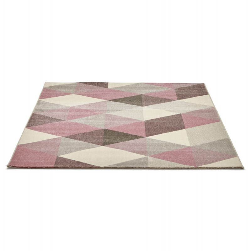 tapis design style scandinave rectangulaire geo 230cm x 160cm rose gris beige. Black Bedroom Furniture Sets. Home Design Ideas