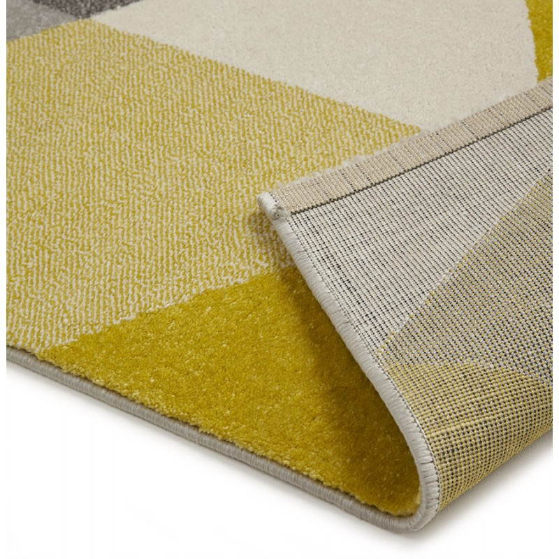 tapis design style scandinave rectangulaire geo 230cm x 160cm jaune gris beige. Black Bedroom Furniture Sets. Home Design Ideas