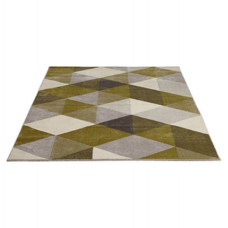 Tapis design style scandinave rectangulaire geo 230cm x 160cm vert gris - Tapis style scandinave ...