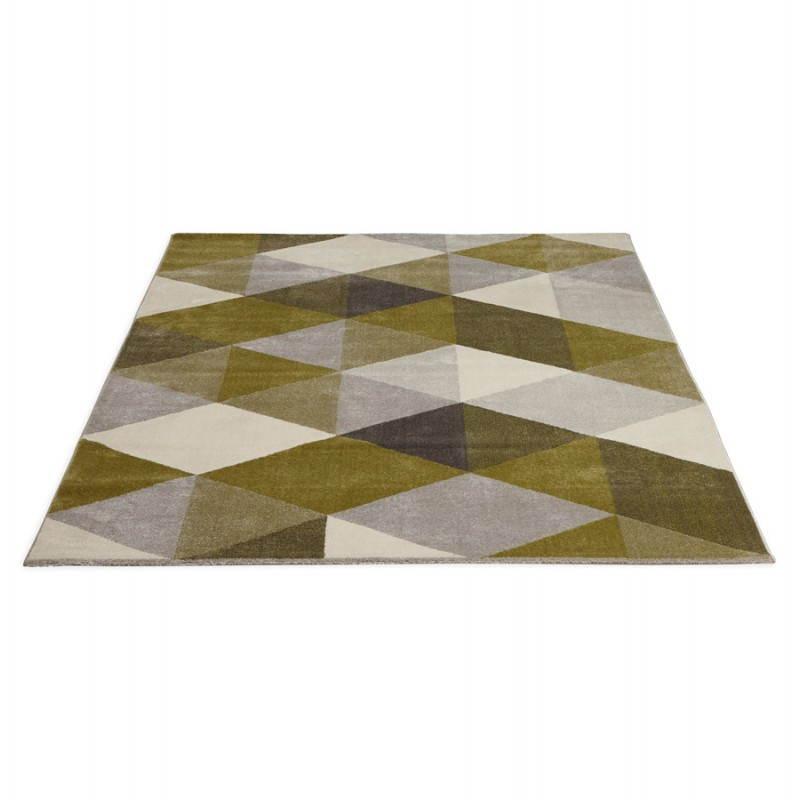 tapis design style scandinave rectangulaire geo 230cm x 160cm vert gris beige. Black Bedroom Furniture Sets. Home Design Ideas