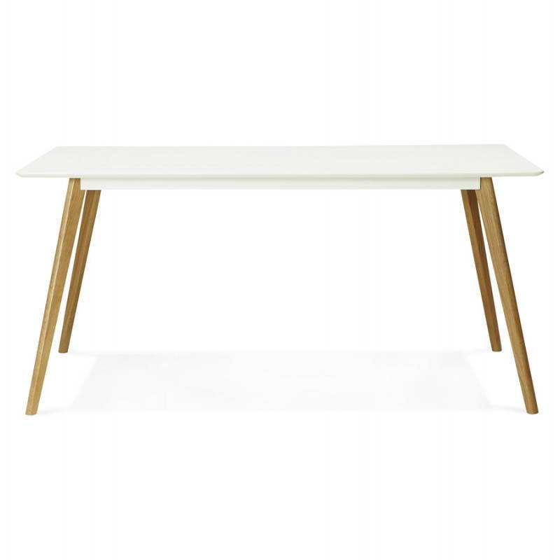 Table manger style scandinave rectangulaire orge en bois for Table scandinave blanc