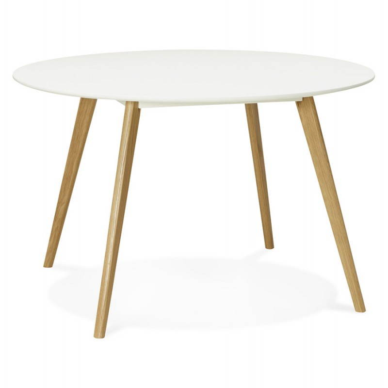 Table manger style scandinave ronde millet en bois for Table ronde bois blanc avec rallonge
