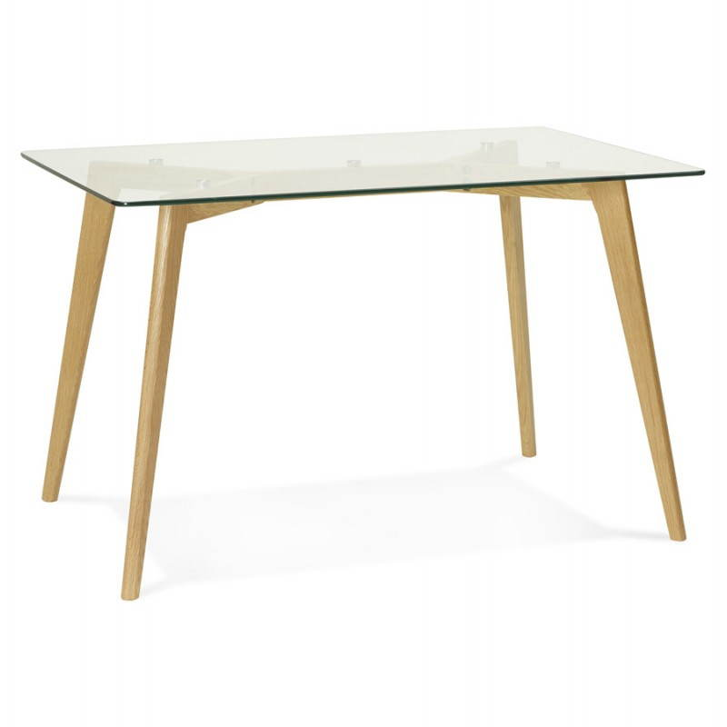 Table manger style scandinave rectangulaire varin en verre - Table rectangulaire en verre ...