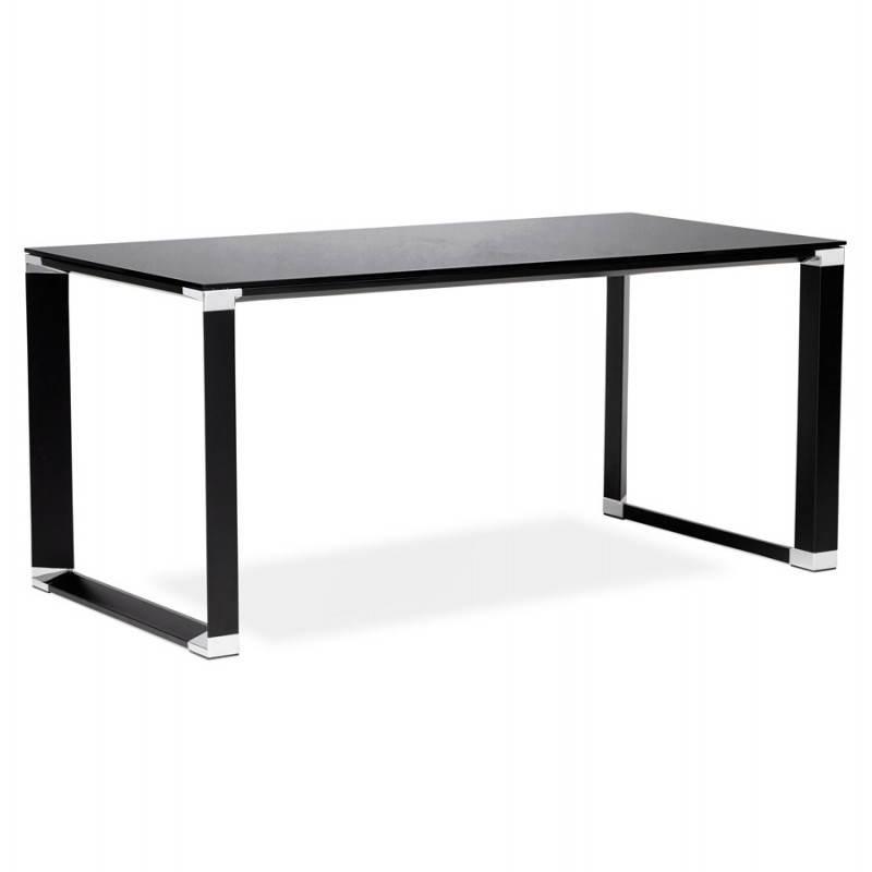 bureau droit design boin en verre tremp noir. Black Bedroom Furniture Sets. Home Design Ideas