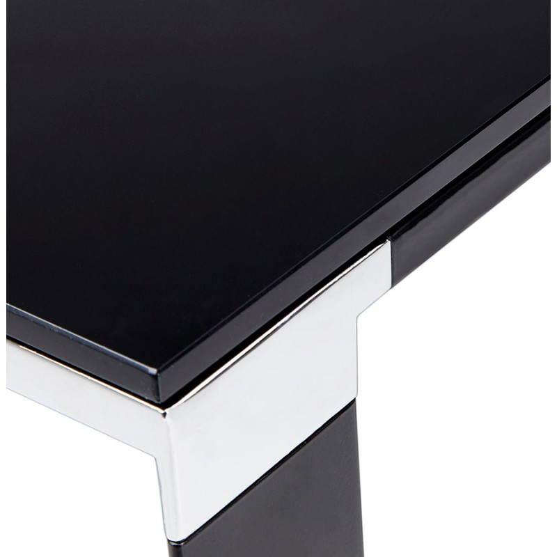 Bureau droit design boin en verre tremp noir for Bureau verre trempe