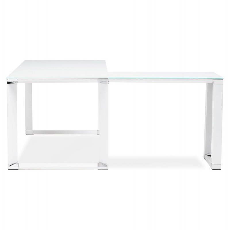 bureau d 39 angle design master en verre tremp blanc. Black Bedroom Furniture Sets. Home Design Ideas
