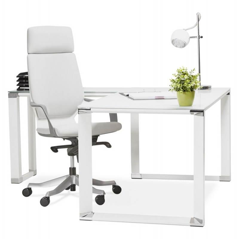 bureau d 39 angle design master en verre tremp blanc mobilier design au meilleur rapport qualit. Black Bedroom Furniture Sets. Home Design Ideas