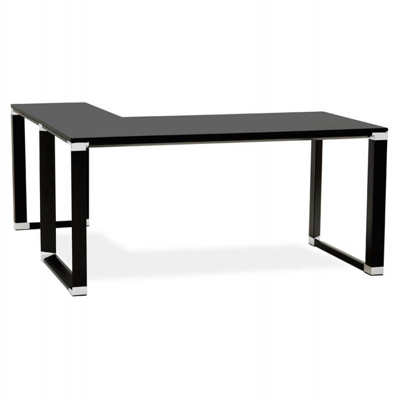 Bureau d 39 angle design corporate en bois noir - Grand bureau d angle ...