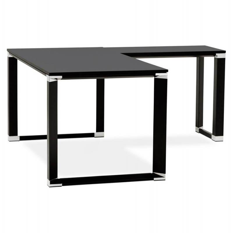 Bureau d 39 angle design corporate en bois noir for Bureau d angle noir