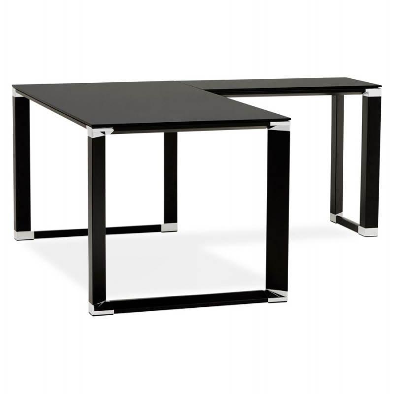 Bureau d 39 angle design master en verre tremp noir - Bureau en verre trempe noir ...