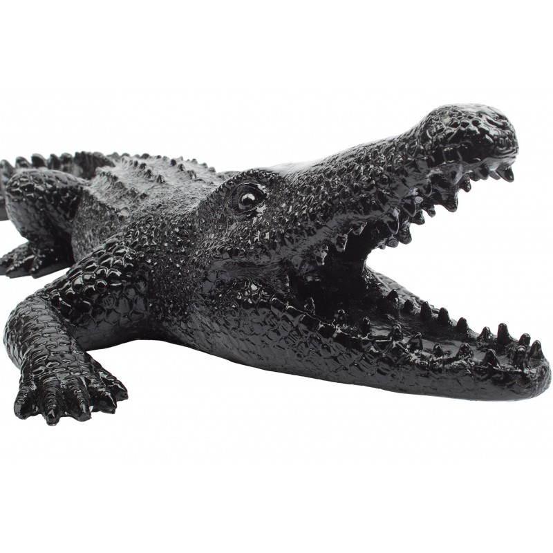 statue sculpture d corative design crocodile en r sine noir. Black Bedroom Furniture Sets. Home Design Ideas