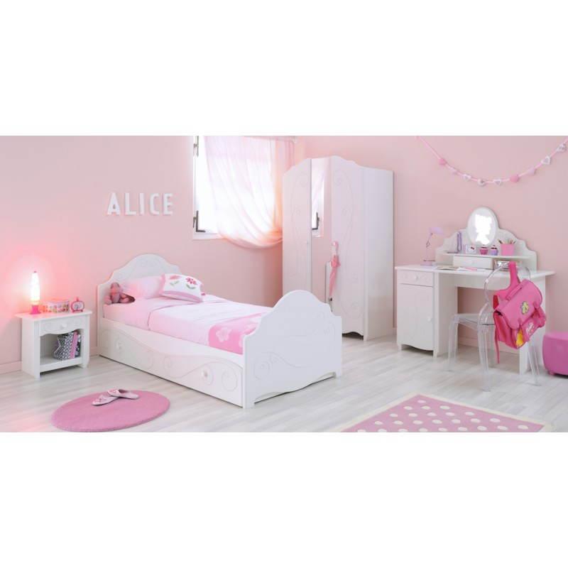 chevet fille 1 tiroir style romantique altesse blanc. Black Bedroom Furniture Sets. Home Design Ideas