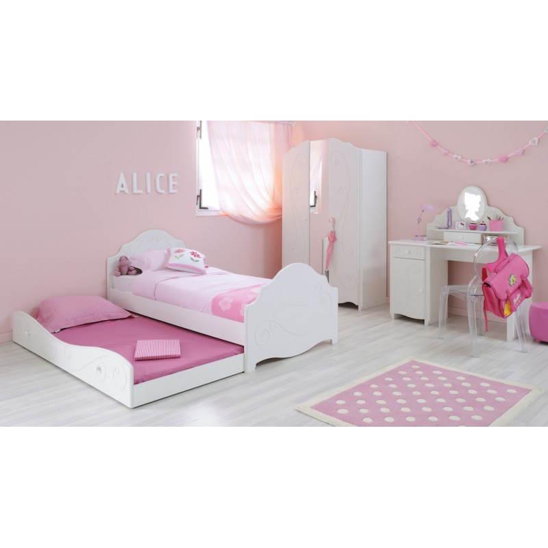 tiroir lit fille 90x200 cm style romantique altesse blanc. Black Bedroom Furniture Sets. Home Design Ideas