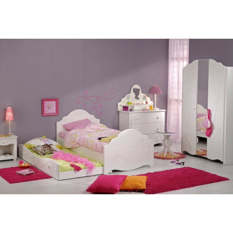 Tiroir lit fille 90x200 cm style romantique altesse blanc - Lit style romantique ...