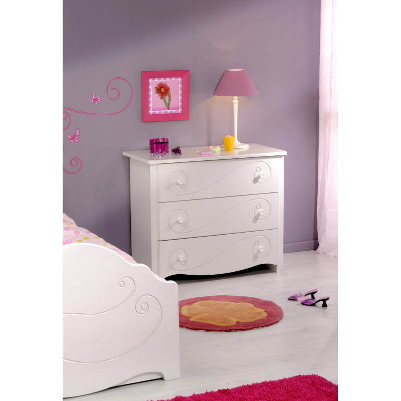 Commode fille 3 tiroirs style romantique altesse blanc - Commode chambre fille ...